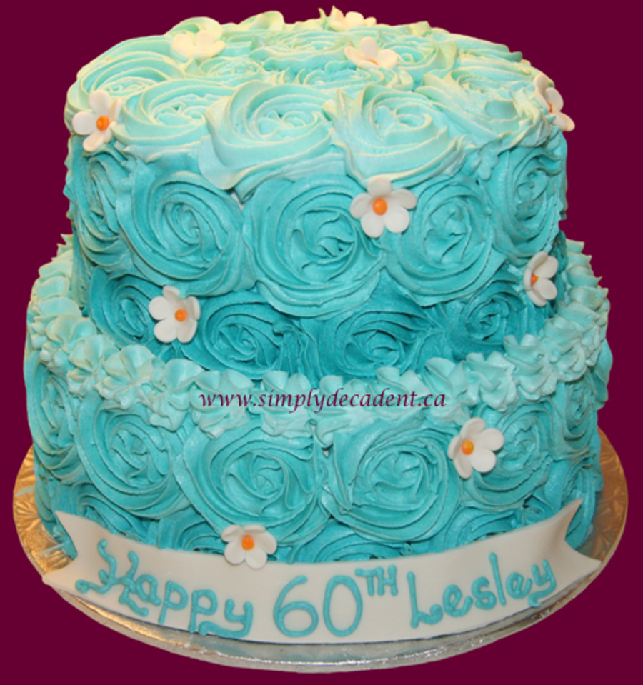 Turquoise Birthday Cake 2 Tier Buttercream Birthday Cake With Turquoise Rosettes And Fondant