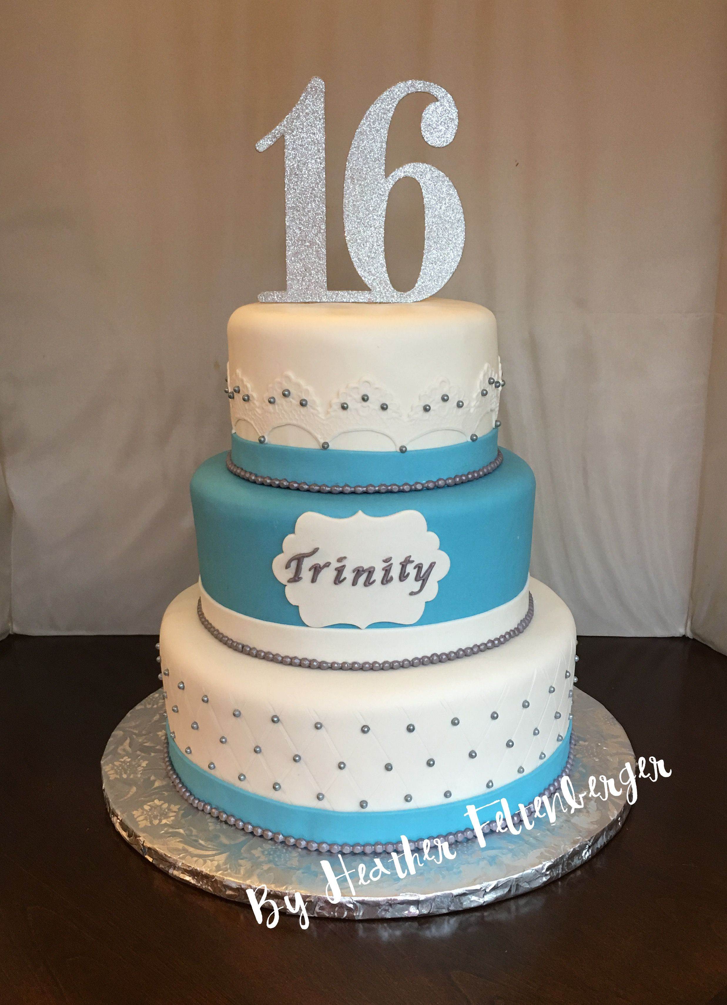 Turquoise Birthday Cake 3 Tier Sweet 16 Birthday Cake Turquoise Teal And White Quilted And