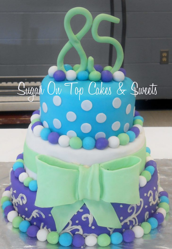 Turquoise Birthday Cake 3 Tier Turquoise Green And Purple Birthday Cake With Polka Dots