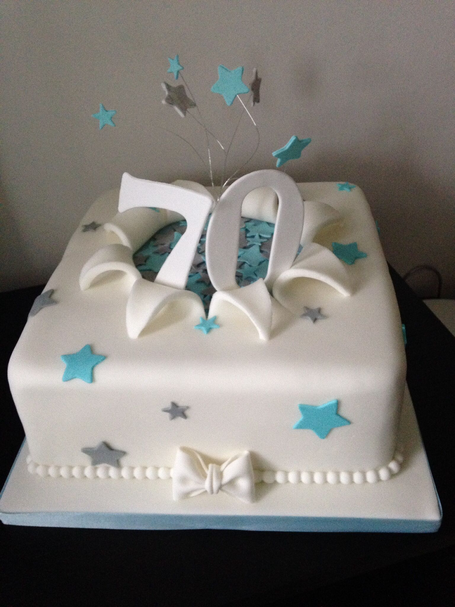 Turquoise Birthday Cake 70th Birthday Cake In Turquoise And Silver Cakes Pinterest