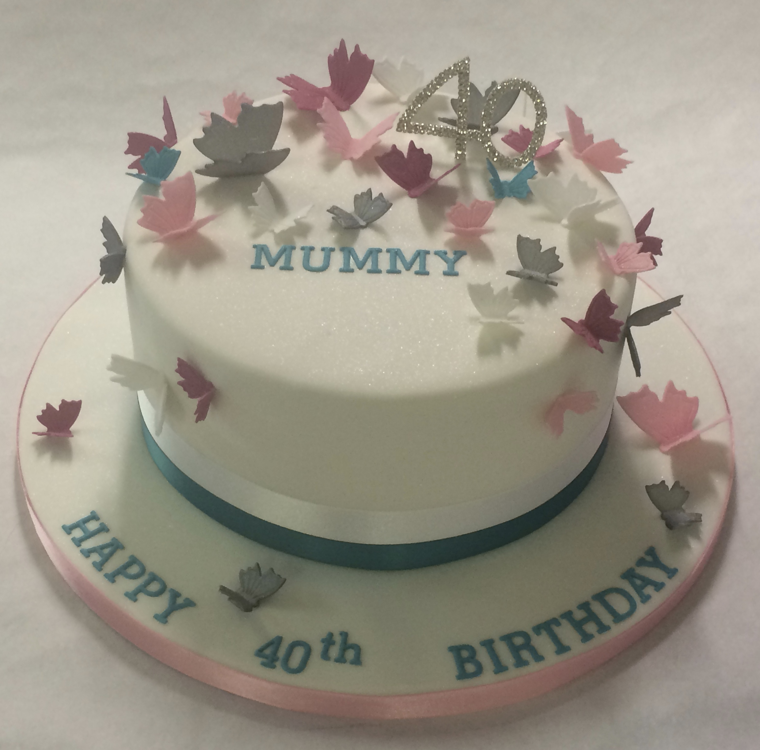 Turquoise Birthday Cake Pink White And Turquoise Trailing Butterfly Cake Girls Birthday