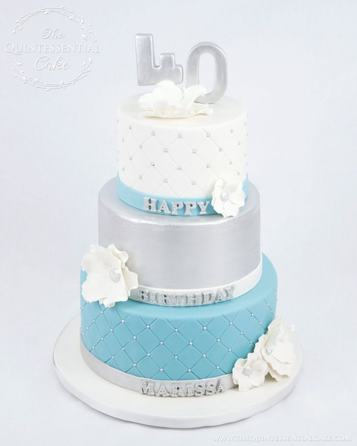 Turquoise Birthday Cake Silver Turquoise 40th Birthday Cake The Quintessential Cake In
