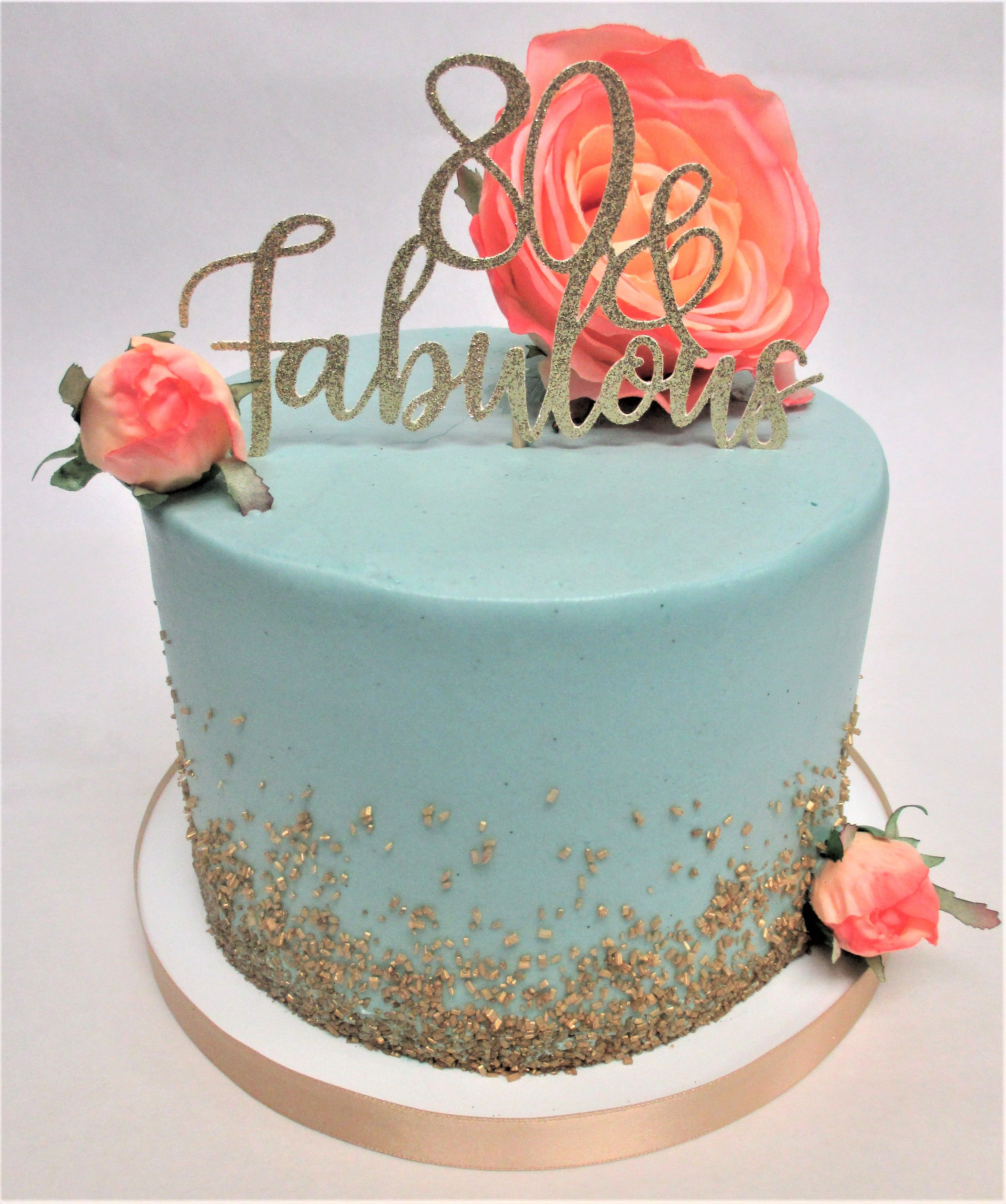 Turquoise Birthday Cake Simple Turquoise 80th Birthday Cake With Cascading Gold Sugar