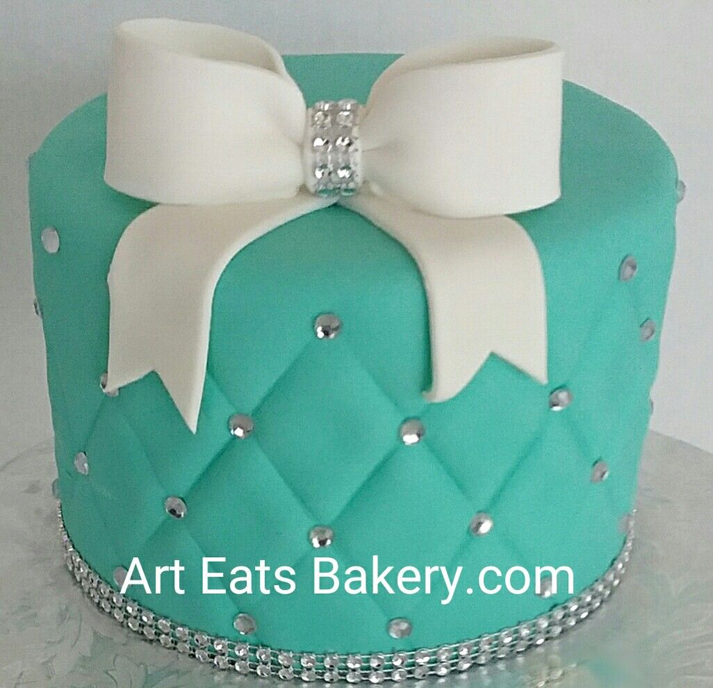 Turquoise Birthday Cake Teal Quilted Fondant Custom Modern Girls 13th Birthday Cake With