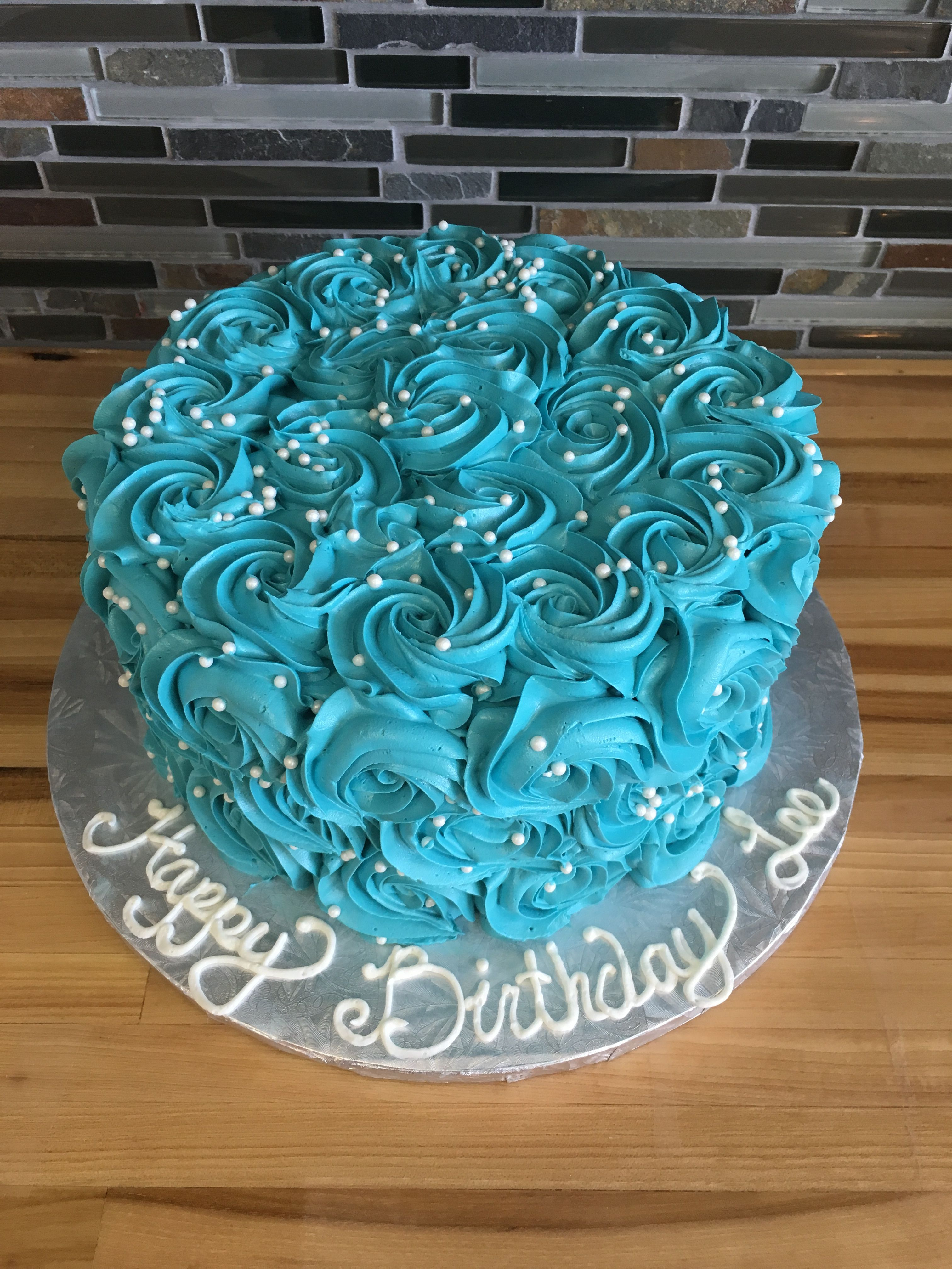 Turquoise Birthday Cake Teal Rosette Pearl Birthday Cake Birthday Cakes Pinterest