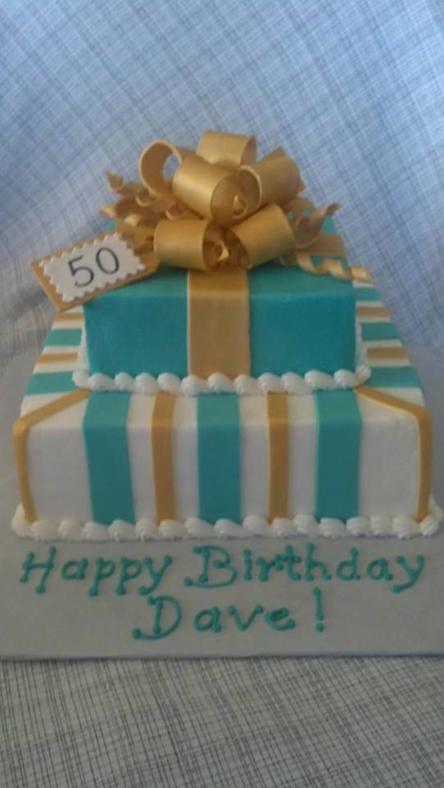 Turquoise Birthday Cake Turquoise And Gold 50th Birthday Cake Butter Cream Icing With