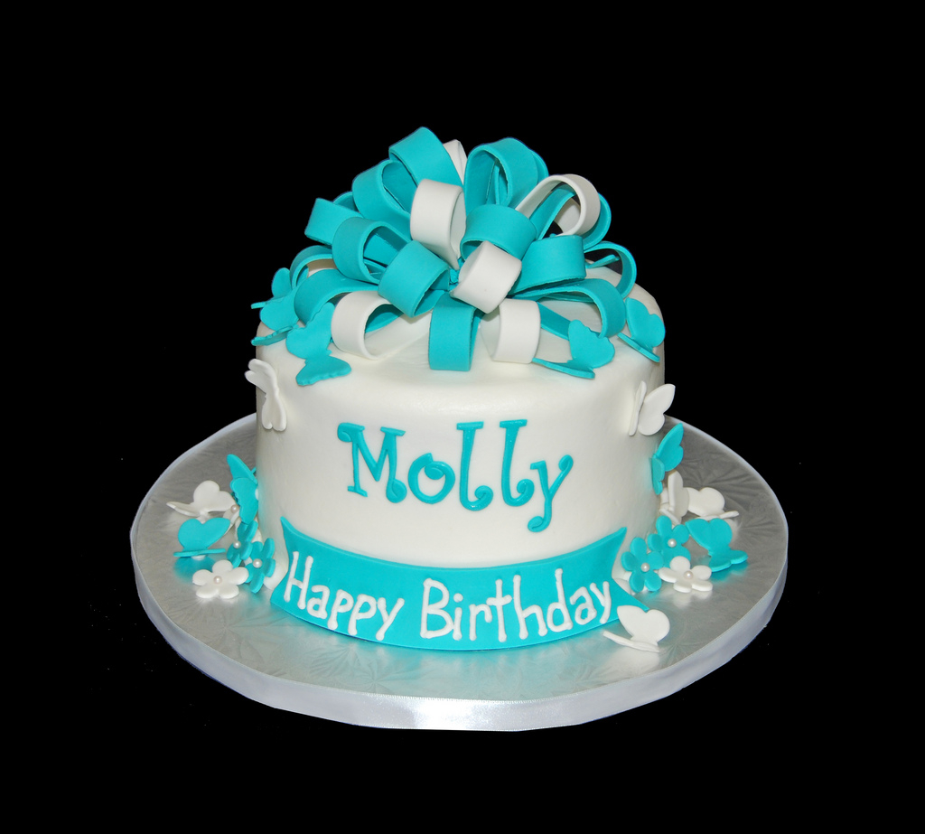 Turquoise Birthday Cake Turquoise And White Birthday Cake With Butterflies And Flo Flickr