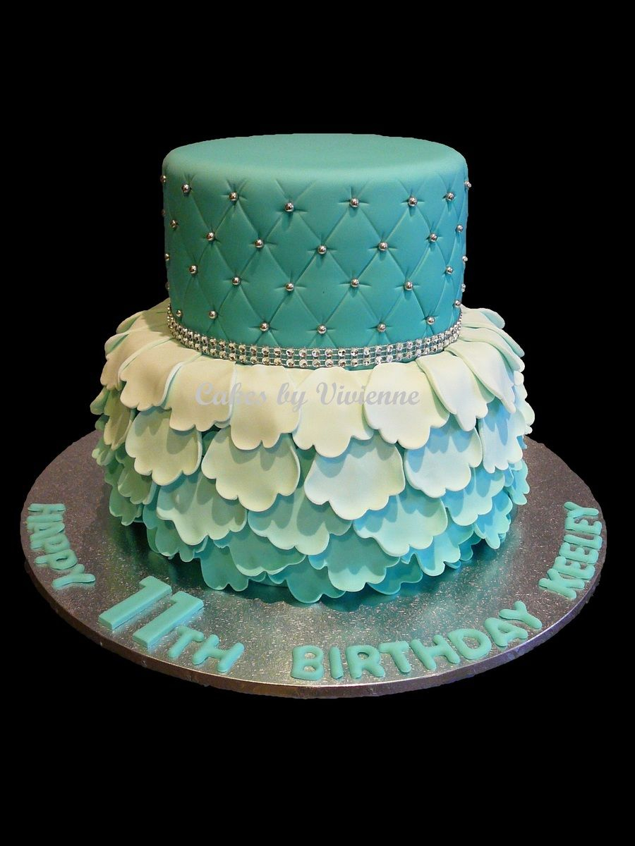 Turquoise Birthday Cake Turquoise Ombre Ruffle And Quilted Birthday Cake Cakes Pinterest