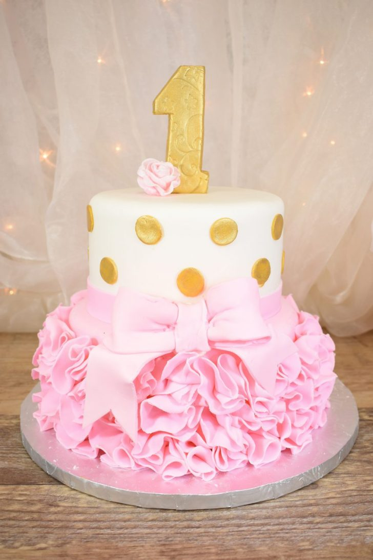 Two Tier Birthday Cake 1st Birthday 2 Tier Ruffle Cake Goodies Winnipeg Bakery