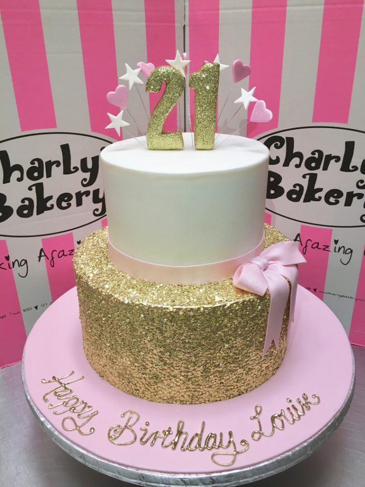Two Tier Birthday Cake 2 Tier 21st Birthday Cake With Gold Sequins Bottom Tier P Flickr