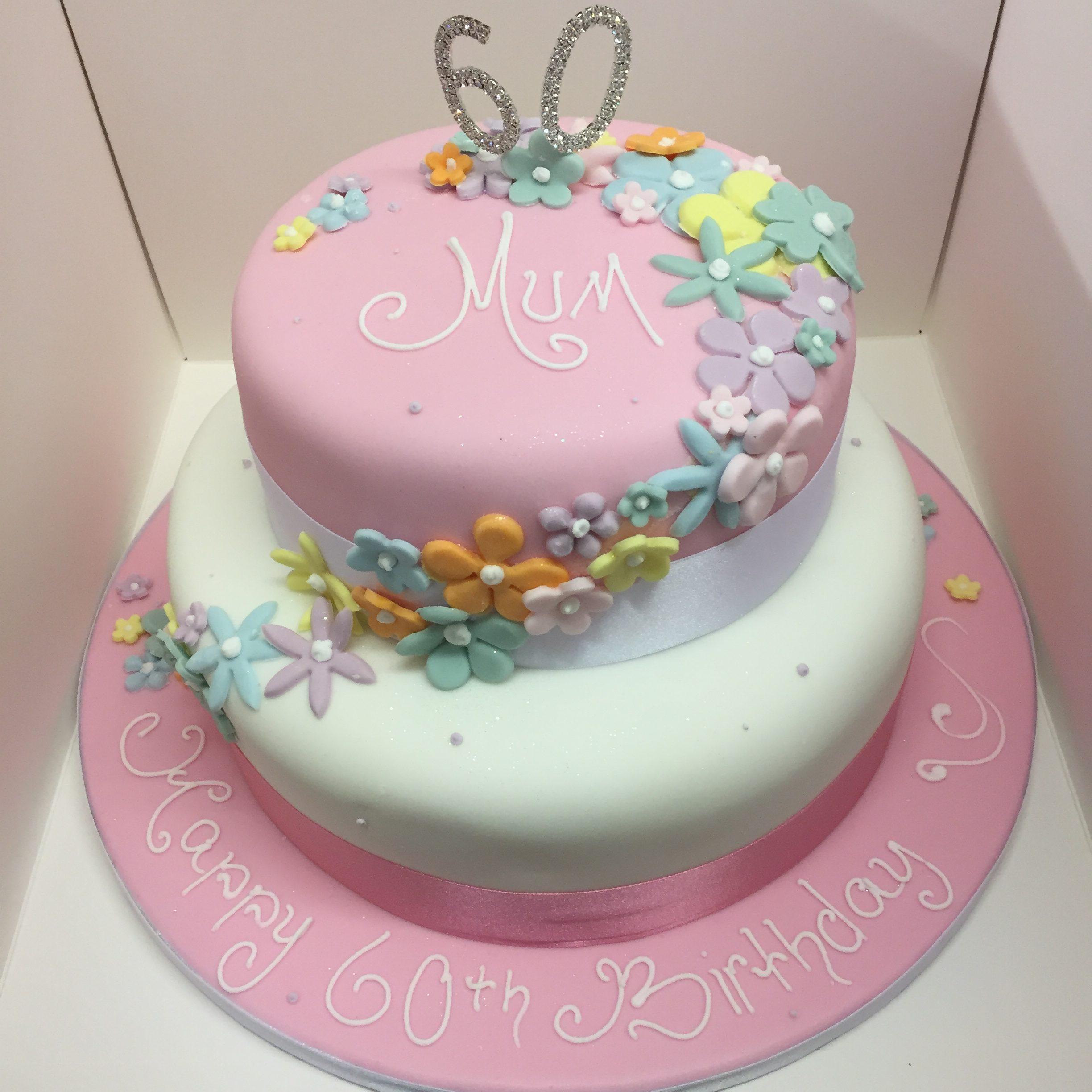 Two Tier Birthday Cake 2 Tier 60th Birthday Cake M Rays Bakery