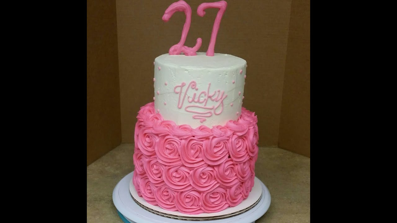 Two Tier Birthday Cake 2 Tier Rosette Birthday Cake Cake Decorating Youtube