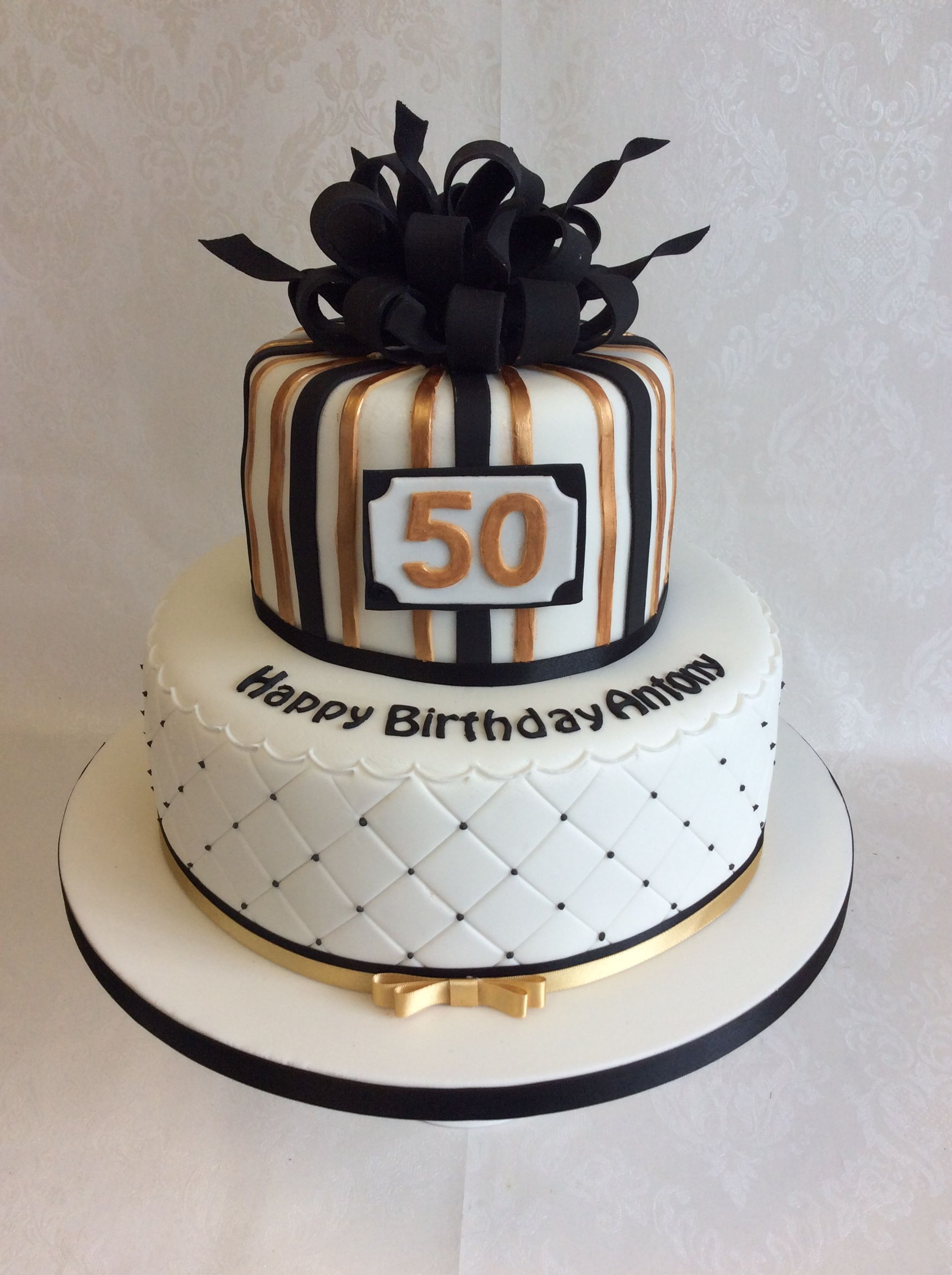 Two Tier Birthday Cake Parcel Style Top Tier For This 2 Tier Black And Gold Themed Birthday