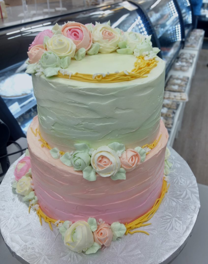 Two Tier Birthday Cake Pastel Rose Two Tier Birthday Cake Goodies Winnipeg Bakery