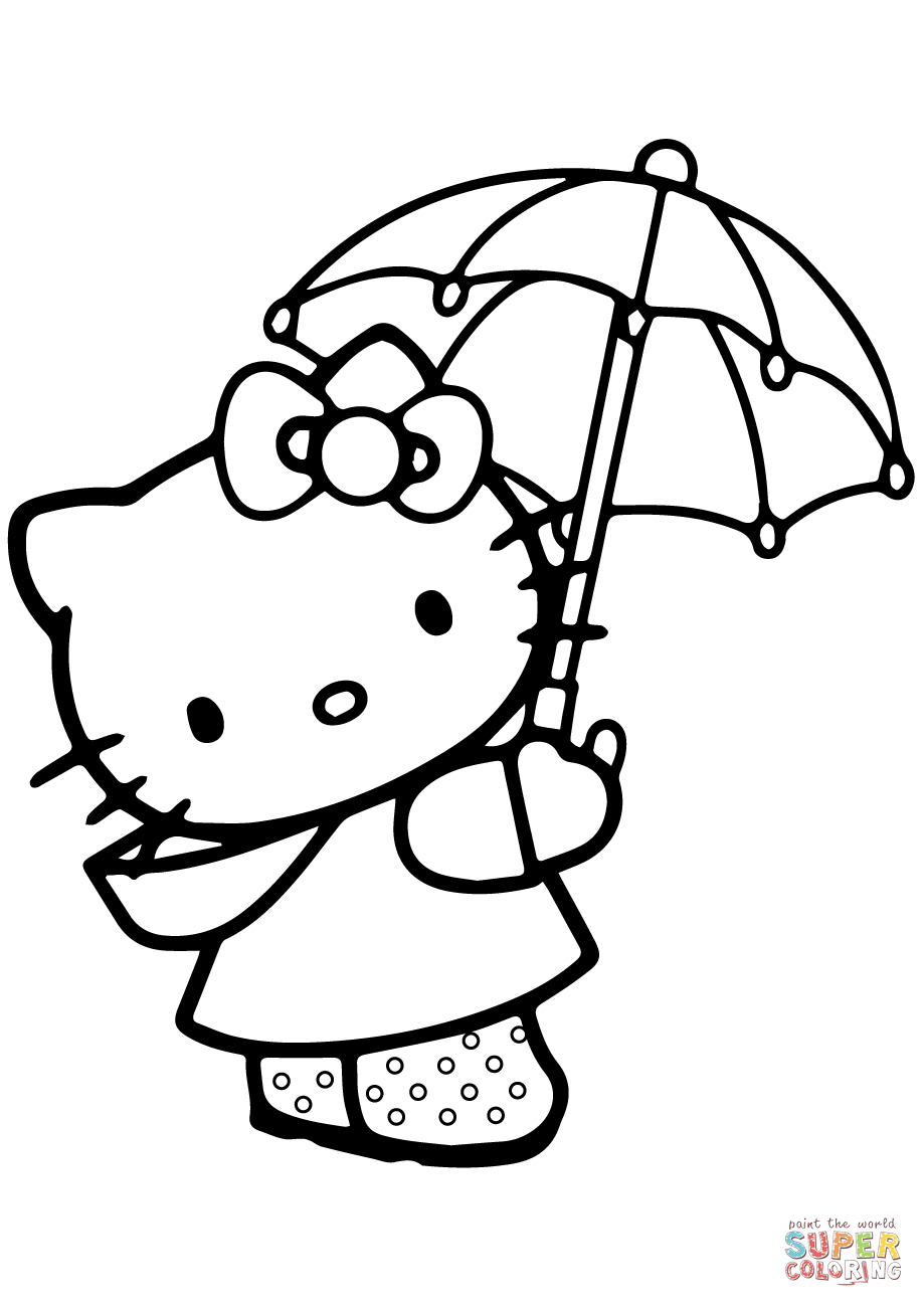Umbrella Coloring Page Lovely Hello Kitty Under The Umbrella Coloring Page Free Printable