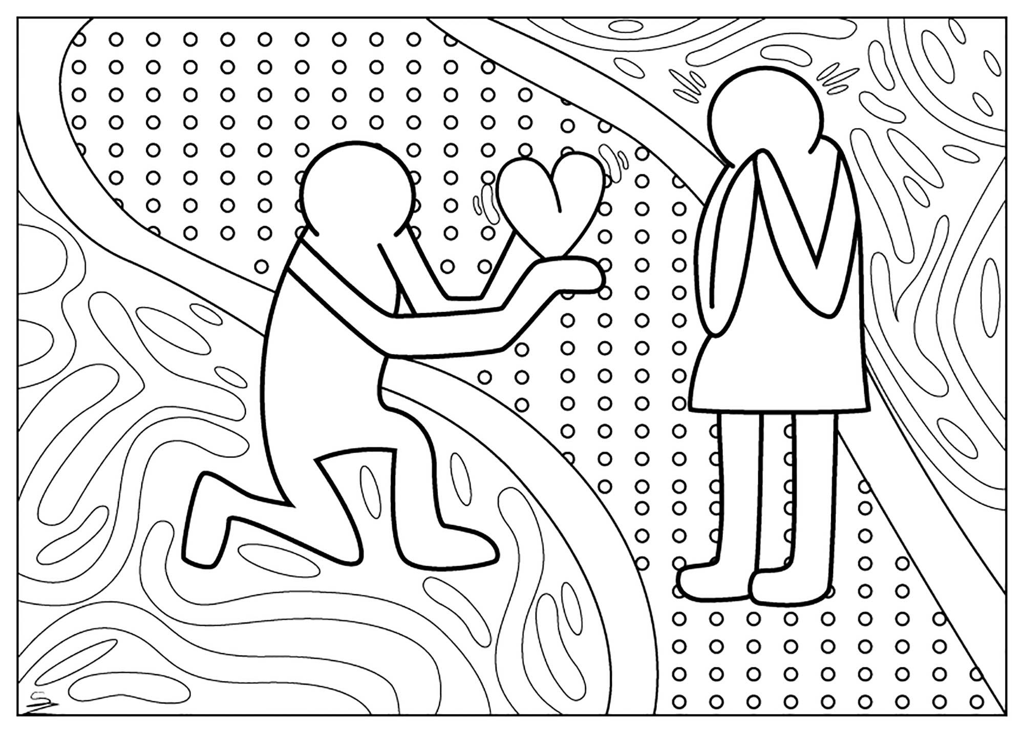 Valentines Day Coloring Pages For Adults Valentine Keith Haring Day Valentines Day Adult Coloring Pages