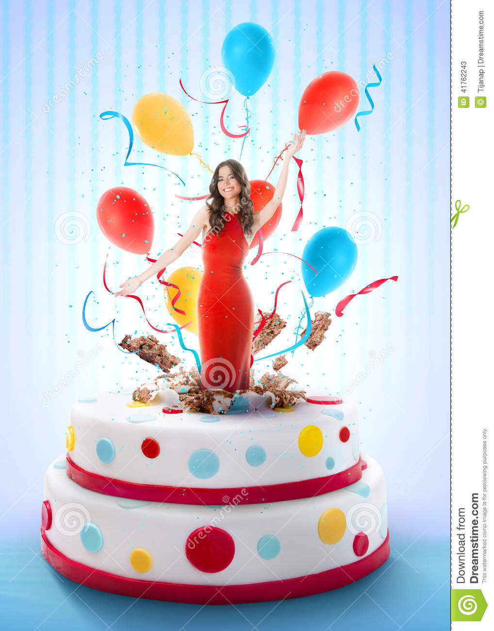 Woman Birthday Cake Beautiful Woman Jumping Out Of The Cake Stock Image Image Of