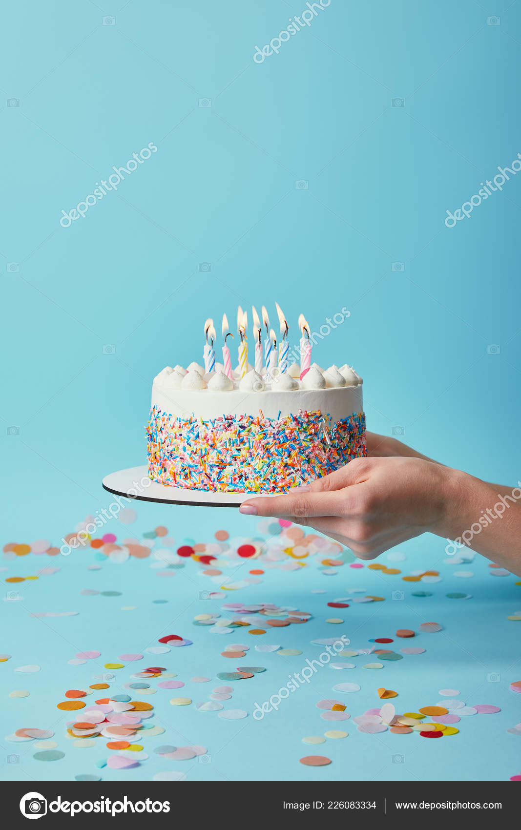 Woman Birthday Cake Cropped View Woman Holding Delicious Birthday Cake Candles Blue