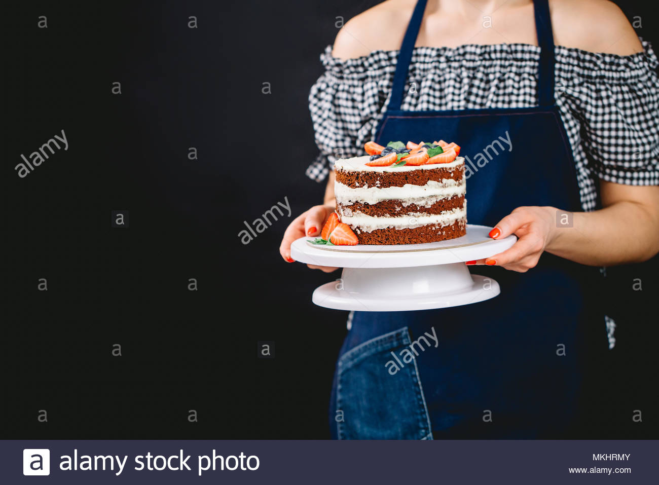 Woman Birthday Cake Young Woman In Denim Apron Holding Chocolate Birthday Cake With