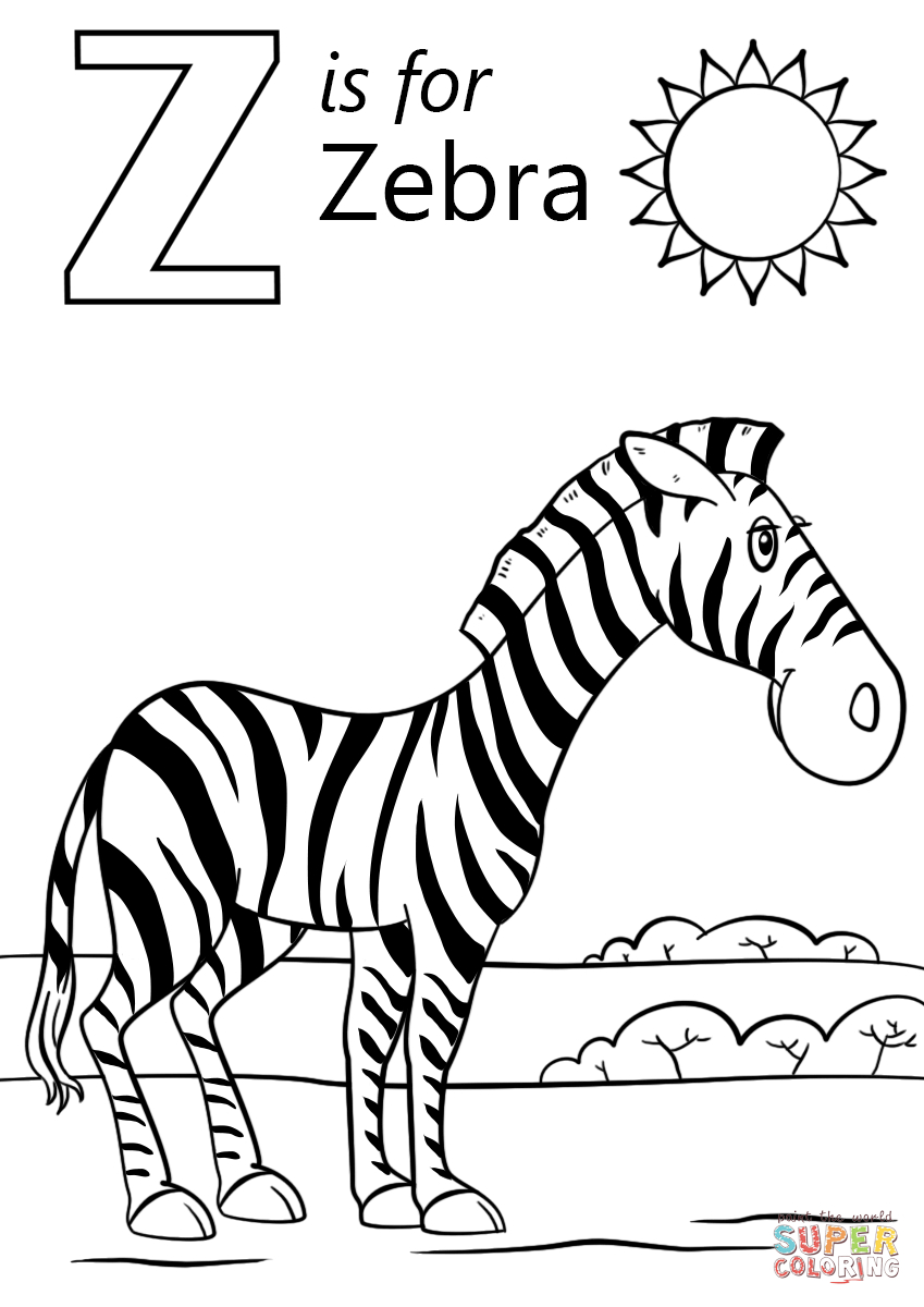 Zebra Coloring Pages Letter Z Is For Zebra Coloring Page Free Printable Coloring Pages