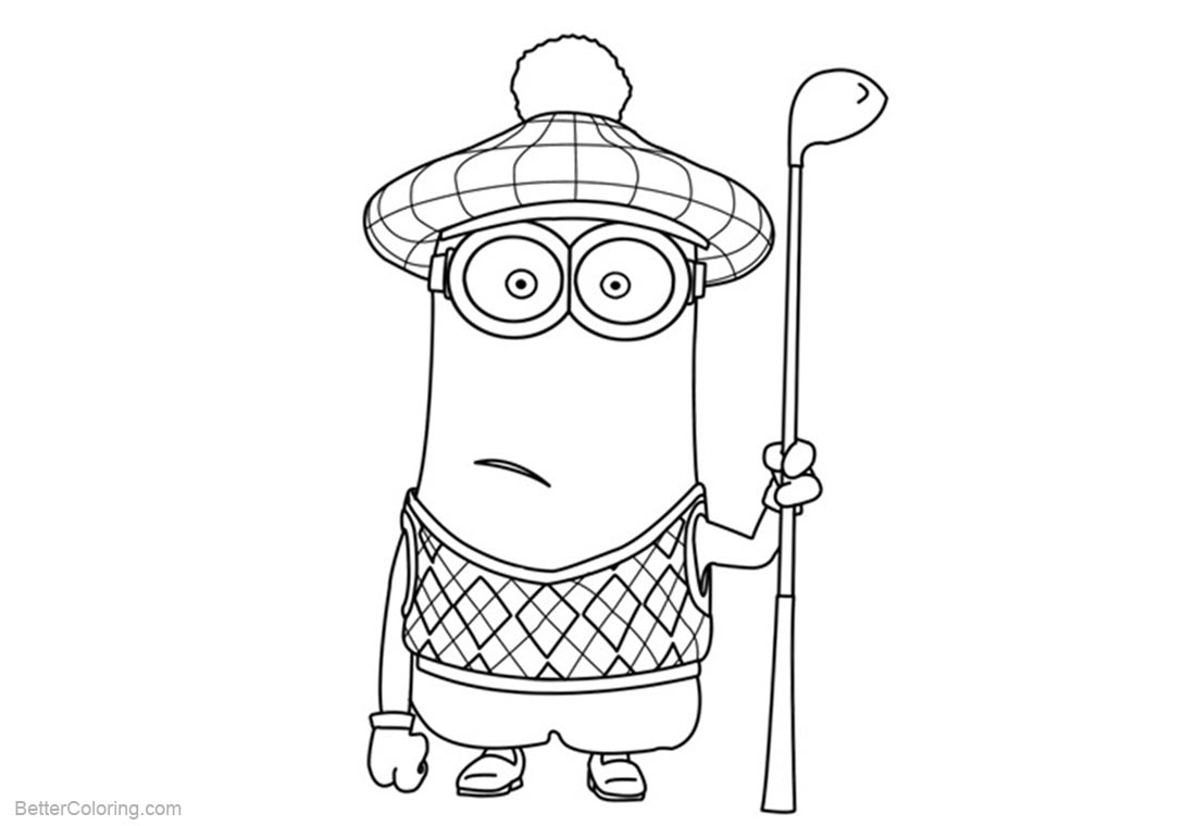 Golf Coloring Pages Minion Coloring Pages With A Golf Club